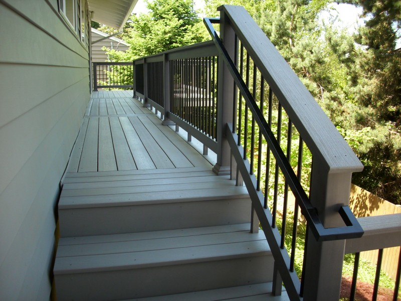 Composite Stairs With Metal Hand Rail