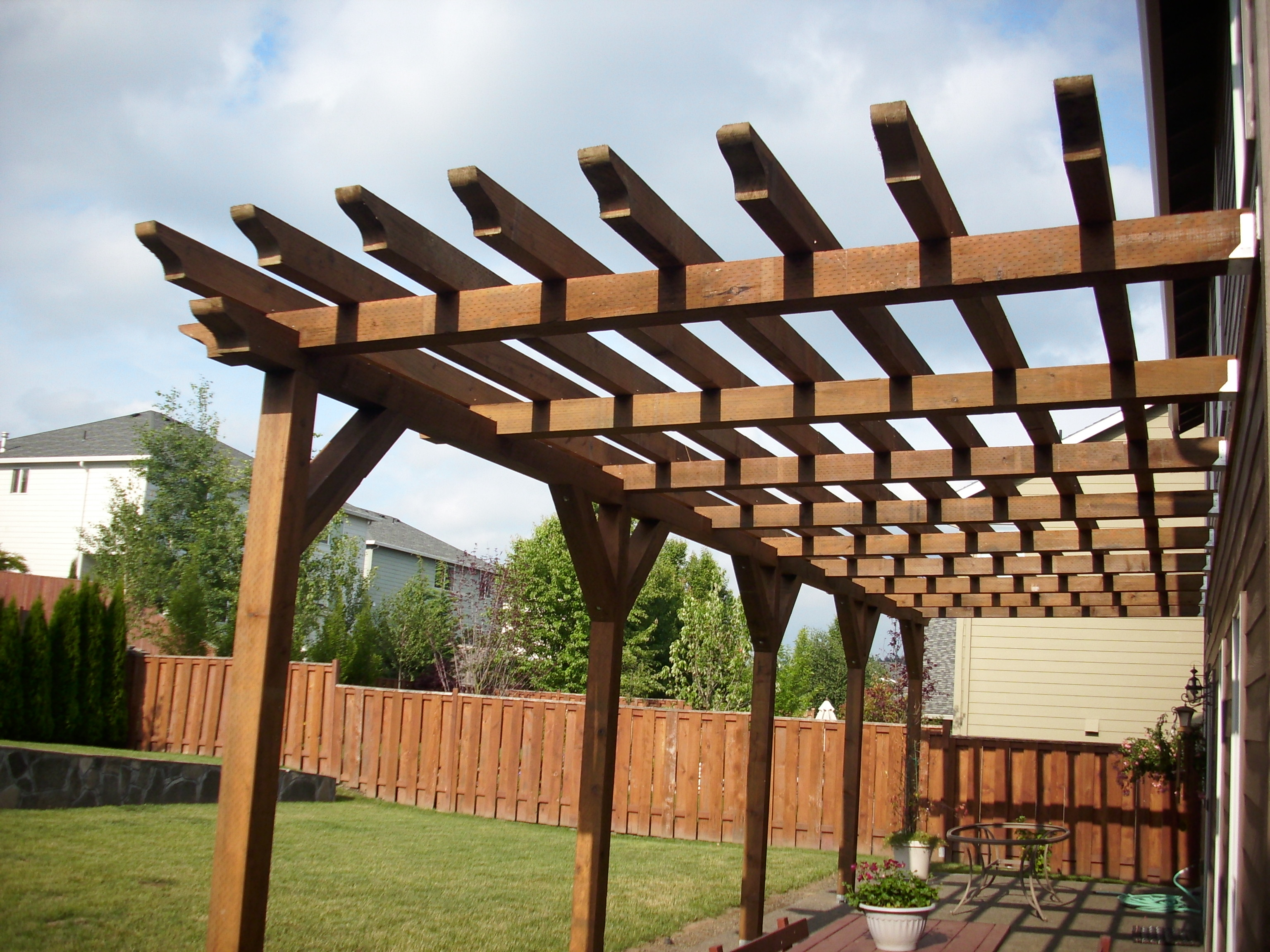 pressure treated 6 6 pergola deck masters llc portland or. Black Bedroom Furniture Sets. Home Design Ideas