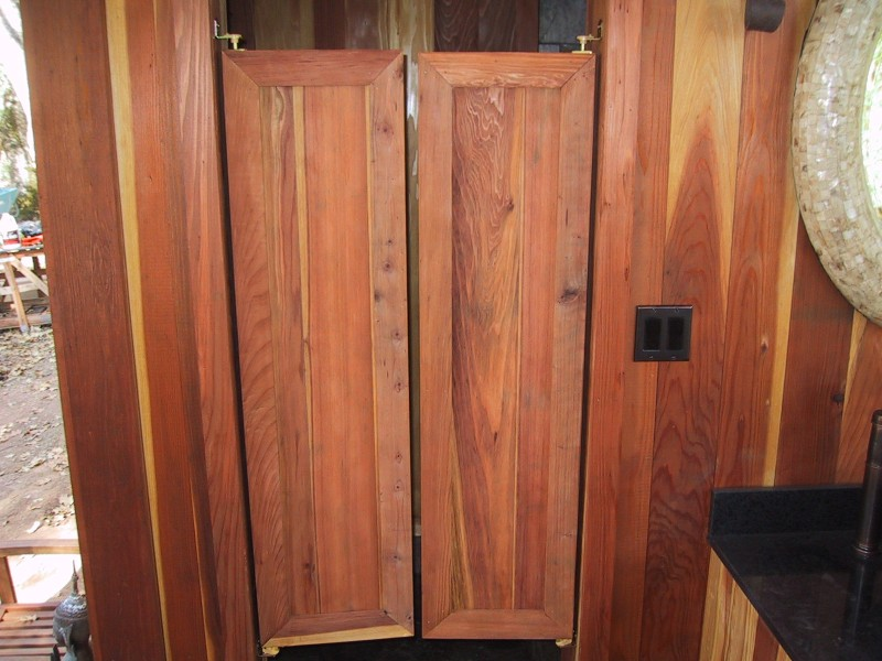 Redwood bath house saloon style doors to the changing area for Interior swinging doors home depot
