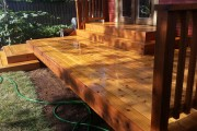 Stained cedar deck