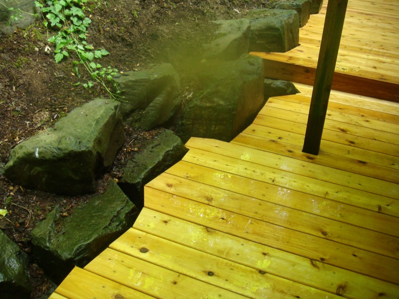 Deck around rocks