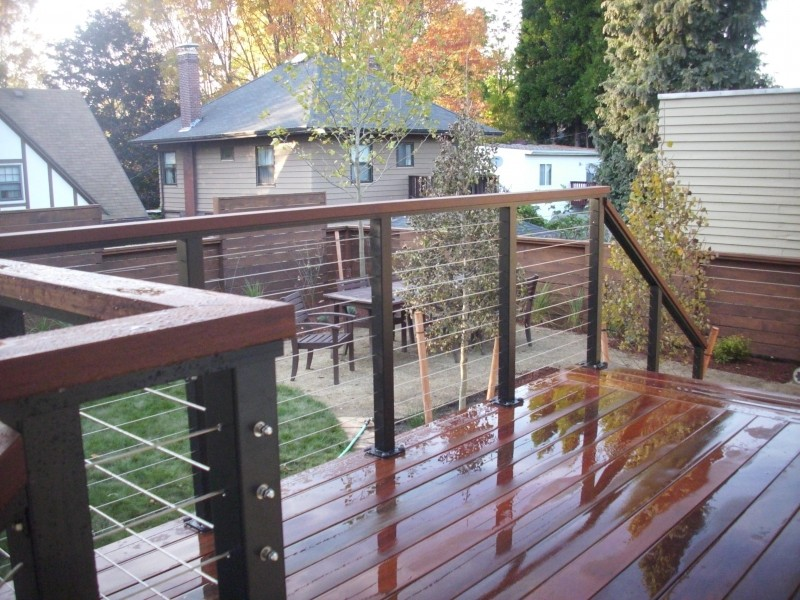 Aluminum railing with stainless steel cables.