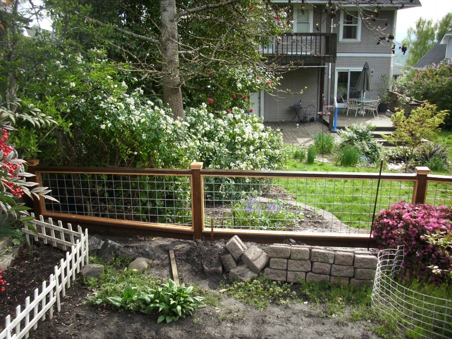 Hog panel garden fence deck masters llc portland or for Garden decking fencing