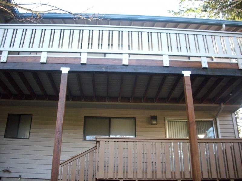 Painted Cedar Deck Replacement Completed Second Story