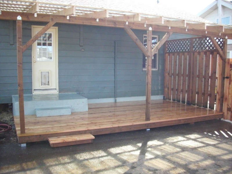 Cedar Deck W/ Polycarbonate Patio Cover And Recycled Gates