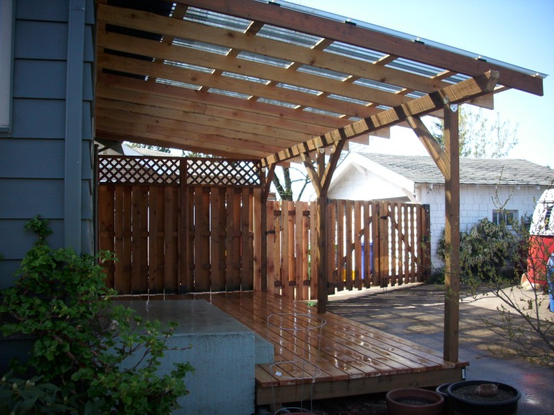 Cedar Deck W Polycarbonate Patio Cover And Recycled Gates Masters Llc Portland OR