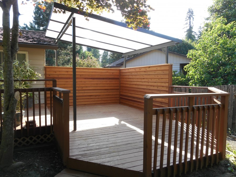 Acrylite patio cover with privacy screen deck masters for Wood patio privacy screens