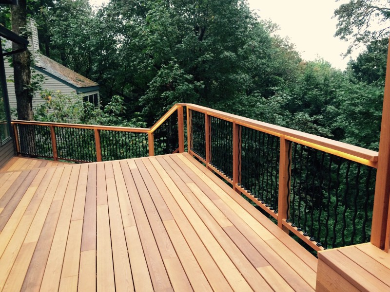 Clear cedar deck with lighted rail