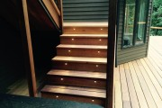 Cedar stairs with lighted risers