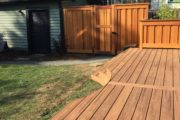 Composite deck and clear cedar gate