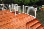 Cedar deck with white aluminum railing
