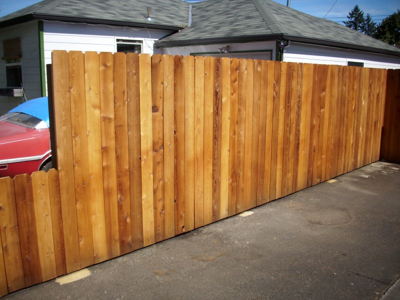 Dog Ear Fence With Sikken S Cedar Stain Deck Masters Llc Portland OR