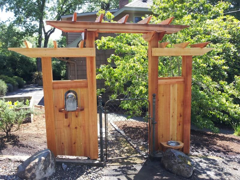 Clear cedar gate arbor