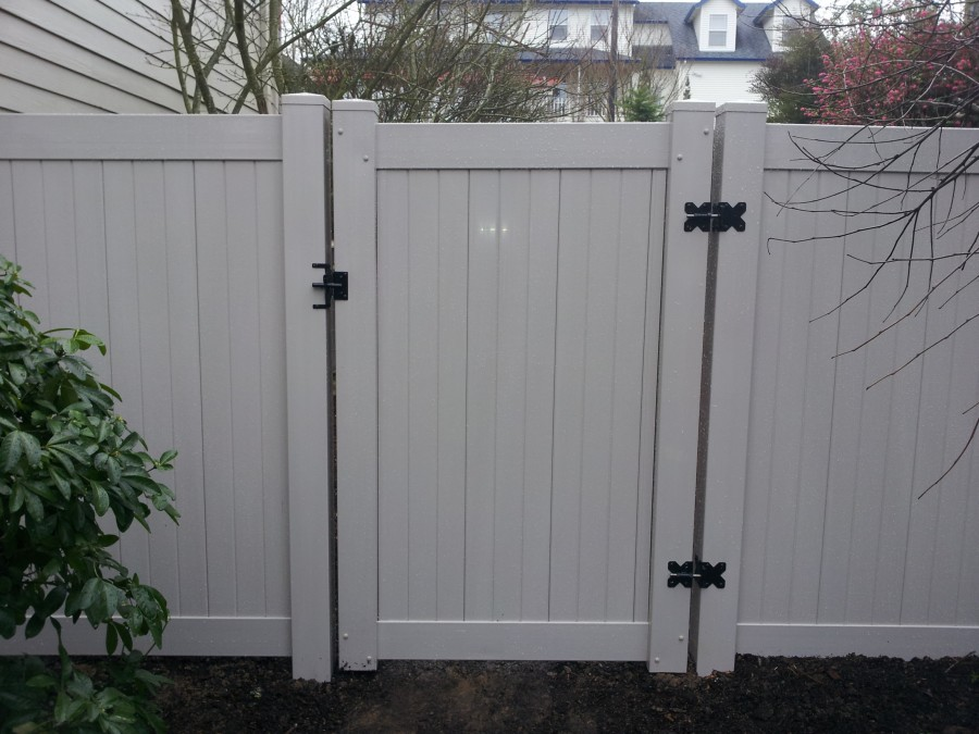 Grey PVC fence and gates