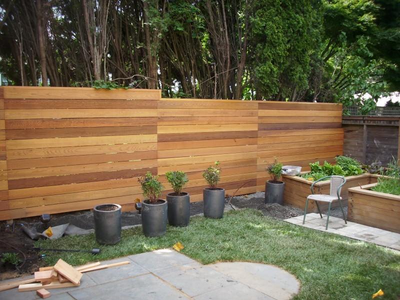Horizontal clear cedar fence