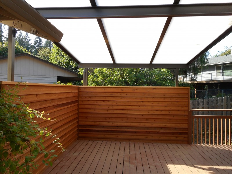 Acrylite patio cover with privacy screen