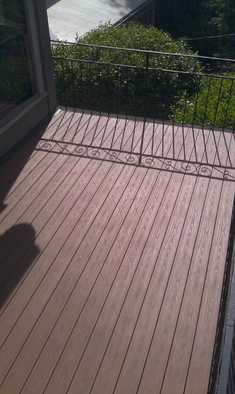 PVC decking in the sun