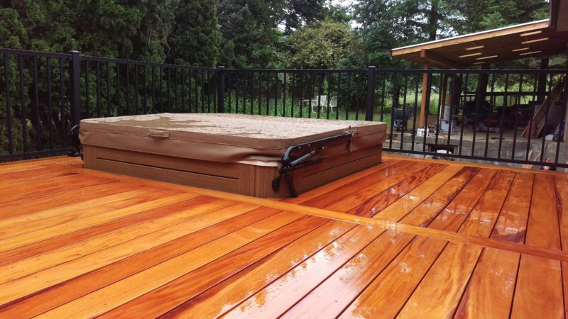 Fijian mahogany deck with hot tub