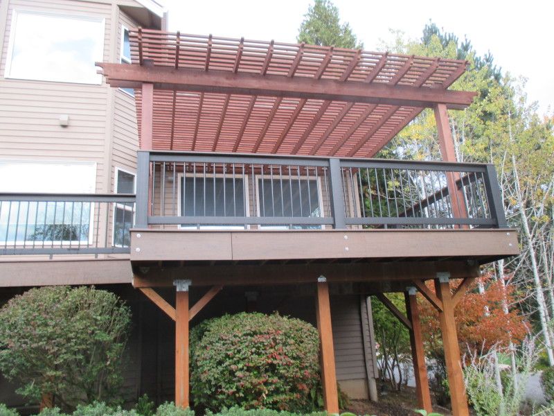 Timbertech composite deck with cedar pergola