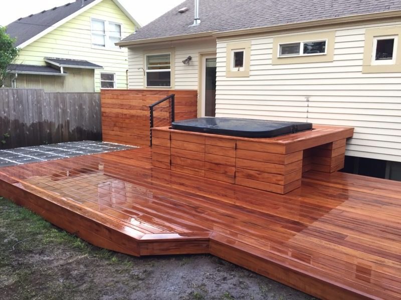 Mahogany deck with hot tub