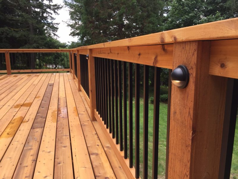Cedar Wrapped Posts With Lights Deck Masters Llc