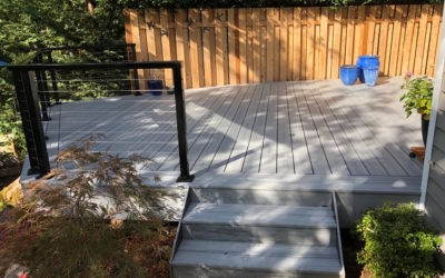 Foggy Wharf Trex deck with cable railing
