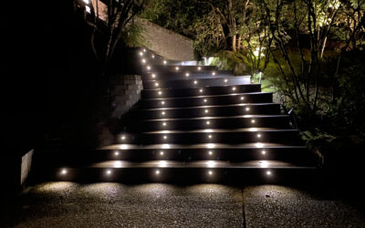 Winding Trex stairs with lights