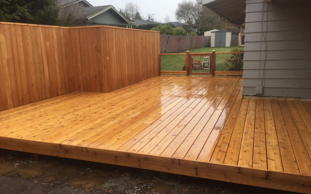 Cedar deck and fence
