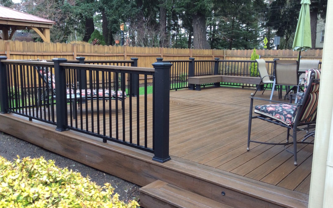 Trex Spiced rum deck with aluminum/composite railing