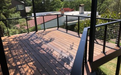 Ipe deck with cable rail