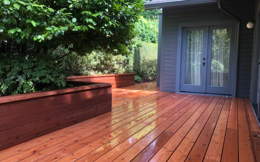 Cedar deck and retaining wall