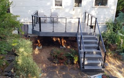 Trex island mist deck with cable railing