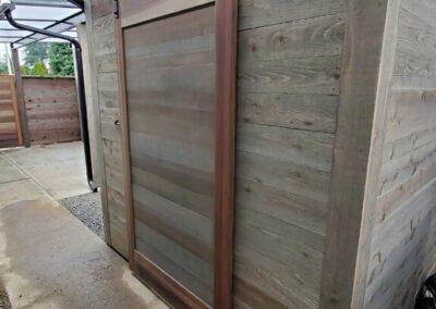 Tool shed with barn door