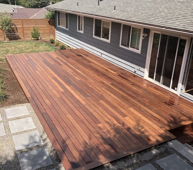 Ipe deck with butt and pass picture frame border
