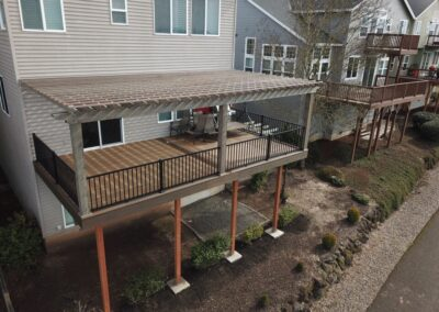 Composite deck and cedar pergola